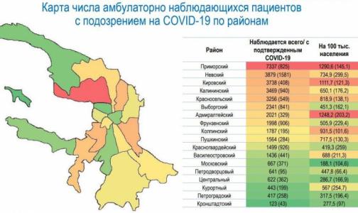 Эксперты составили карту районов Петербурга, где больше всего лечащихся от коронавируса дома