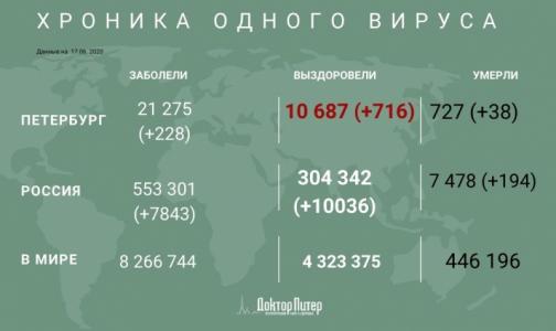 За сутки коронавирус выявили у 228 петербуржцев