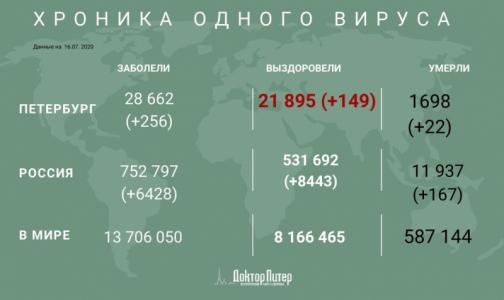В Петербурге выявили за сутки 256 заразившихся коронавирусом