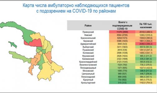 Приморский район Петербурга остается лидером числу зараженных коронавирусом жителей