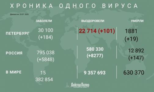 Число заразившихся коронавирусом петербуржцев превысило 30 тысяч
