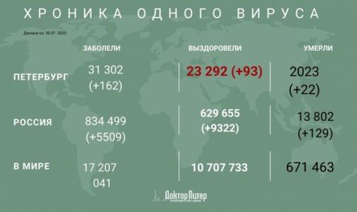 В Петербурге за сутки выявили 162 заболевших коронавирусом