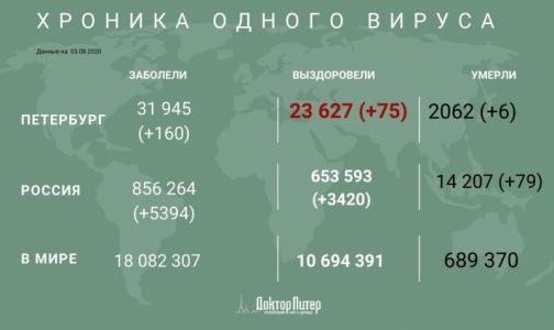 Петербург занял пятое место по числу новых заразившихся коронавирусом - его выявили у 160 человек