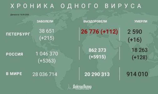 За минувшие сутки у 215 петербуржцев выявили коронавирус