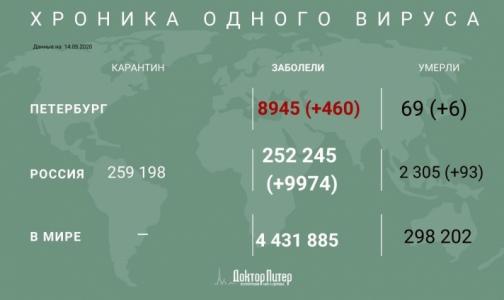 За сутки в Петербурге выявили 460 заразившихся коронавирусом