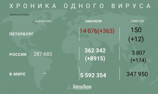 За последние сутки коронавирус выявили у 363 петербуржцев